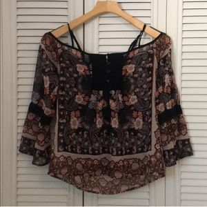 Band Of Gypsies Sheer Dark Floral Blouse